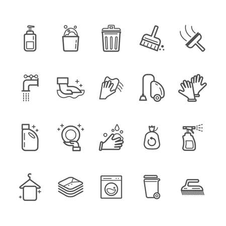 Cleaning products and icons Ilustrace