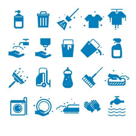 Reeks schoonmakende hulpmiddelen in blauwe kleur