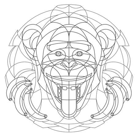 Intricate monkey with bananas design 向量圖像