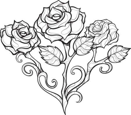Linea di disegno di contorno di rosa vettoriale