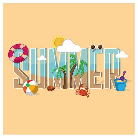 Summer lettering design vector font Illustration
