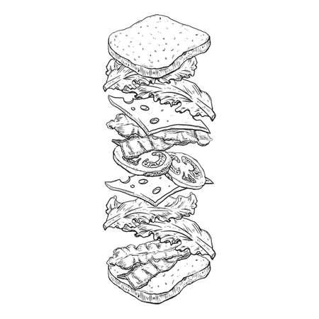 Geworpen sandwich schets illustratie