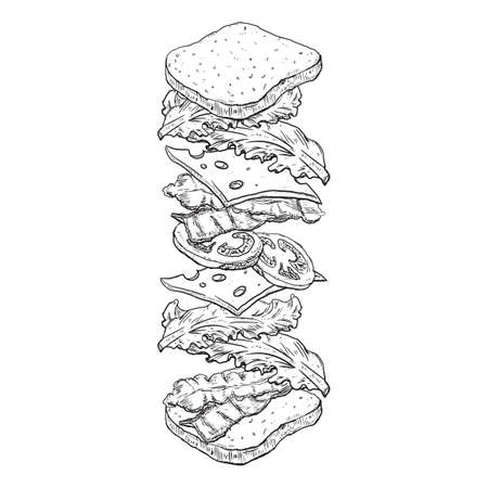 Tossed sandwich sketch illustration Illustration