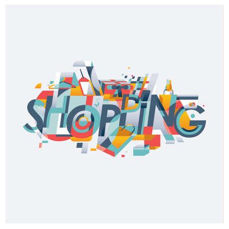 Shopping lettering design typograph