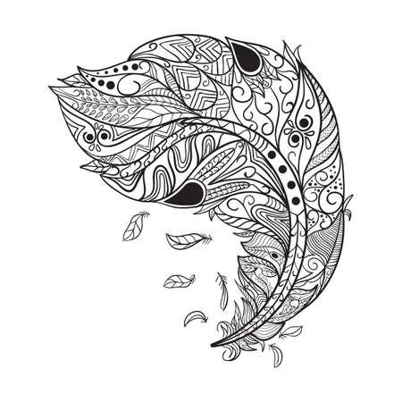 複雑な羽クリエイティブ デザイン  イラスト・ベクター素材