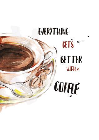 영감 따옴표가있는 커피 디자인