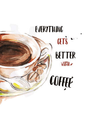 Coffee design with inspirational quote Illustration