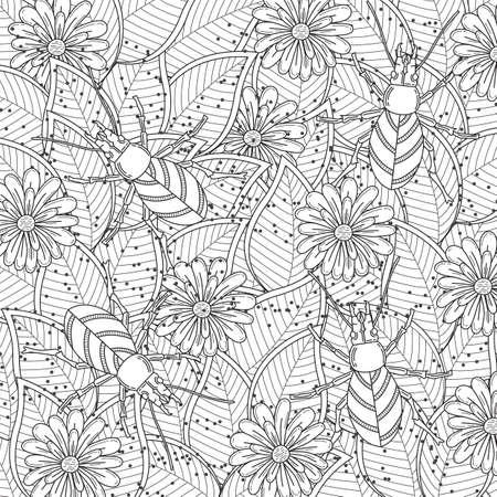 Diseño Intrincado Del Escarabajo De Cuernos Ilustraciones ...