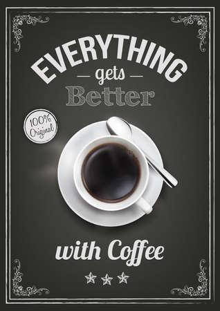 견적과 함께 커피 디자인 일러스트