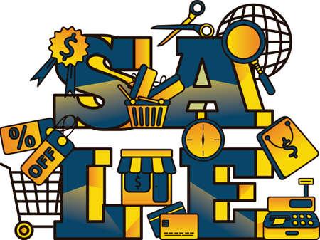 e shop: Sale lettering design Illustration