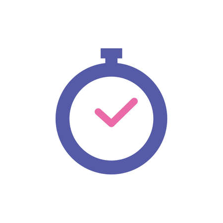 Stopwatch with blue and purple outline vector
