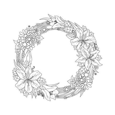 Diseño Intrincado De La Guirnalda De La Flor Ilustraciones ...