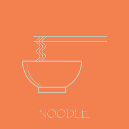 Noodle white outline with pink background. Simple and minimalistic.