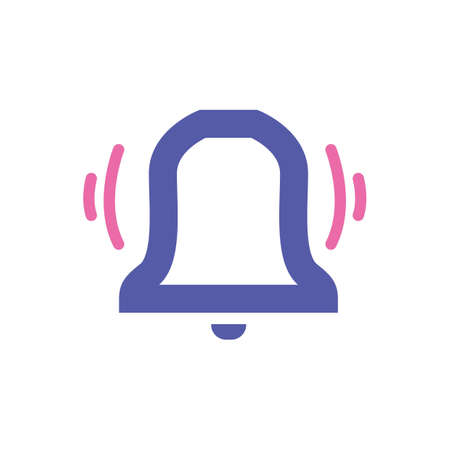 Ringing bell simple vector icon with purple and pink outline