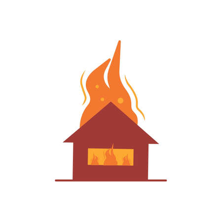 House on fire vector illustration disaster