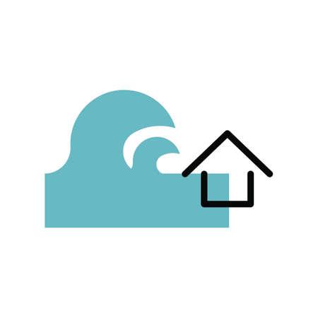 Tsunami disastrous vector illustration