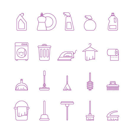 Collection of cleaning icons Illustration