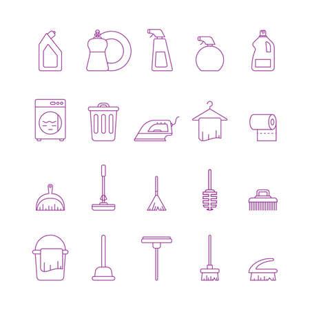 Verzameling van schoonmaakpictogrammen