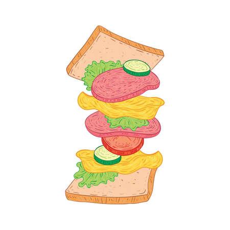 Gegoten Salami Sandwich Stock Illustratie