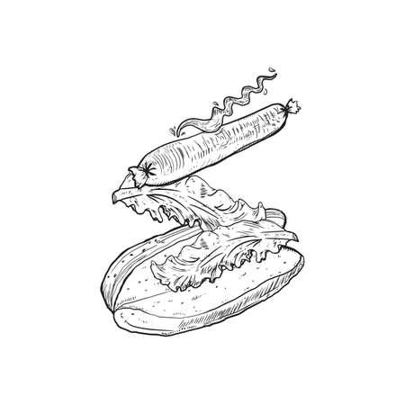 Tossed hotdog black and white sketch vector illustration