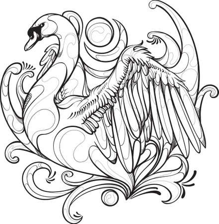 白鳥デザイン ベクトル図