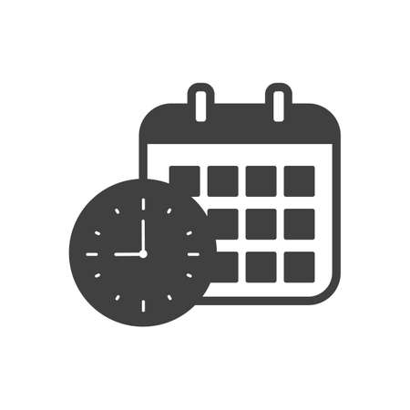 Clock and calendar icon black and white vector illustration Illustration