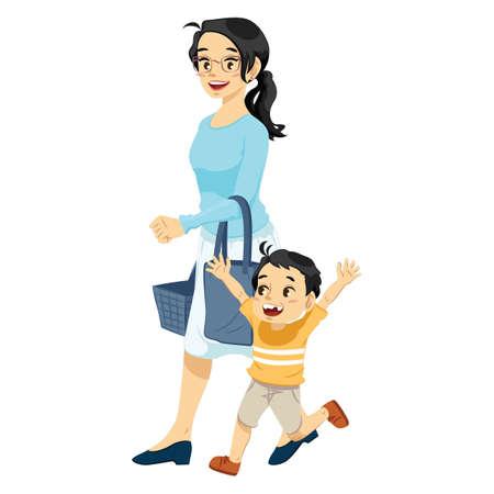 母息子のベクトル図と買い物
