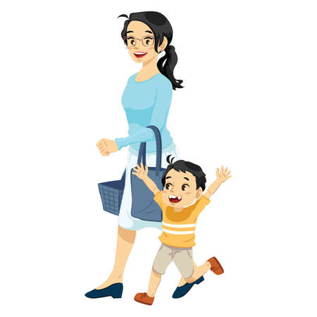 Mother shopping with son vector illustration