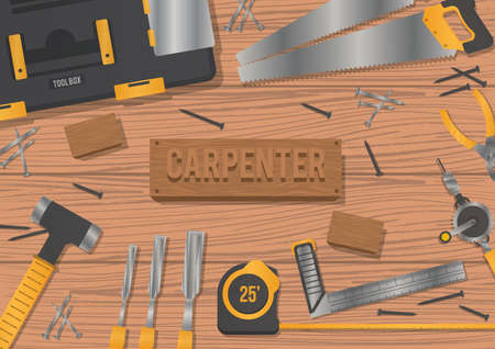 Carpenter workspace design vector illustration