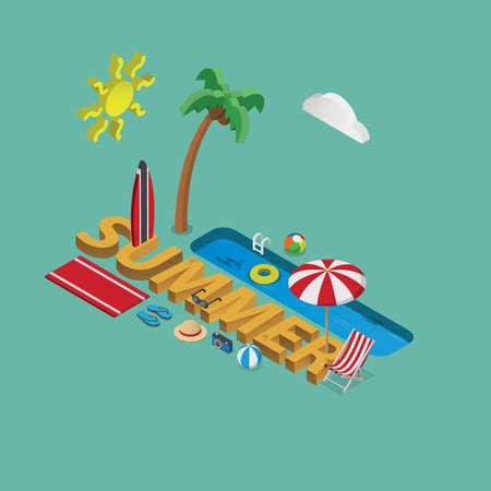 Summer lettering designvector illustration