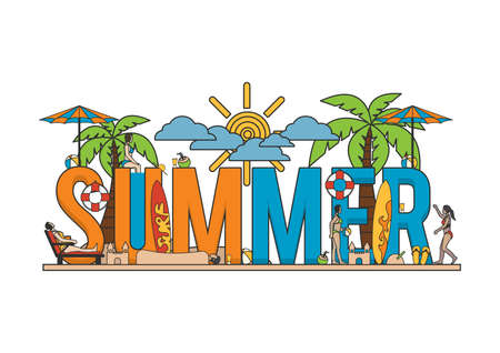 A summer lettering design Imagens - 77389204