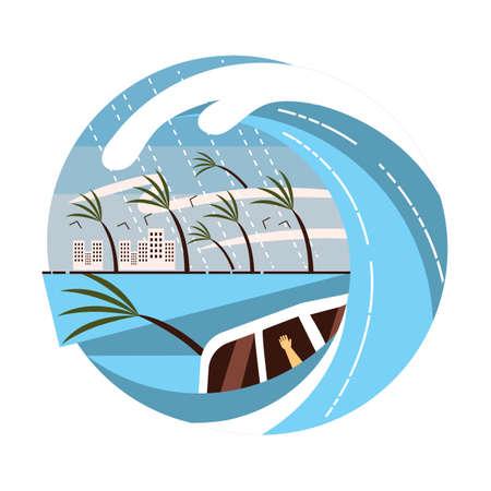 Tsunami vector illustration concept Иллюстрация