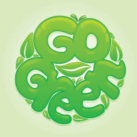 Go green lettering design vector illustration
