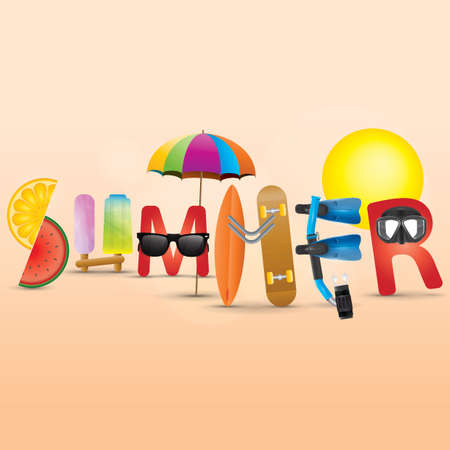 Summer lettering design vector illustration