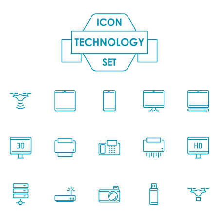 Set of technological icons Stock Vector - 77389915