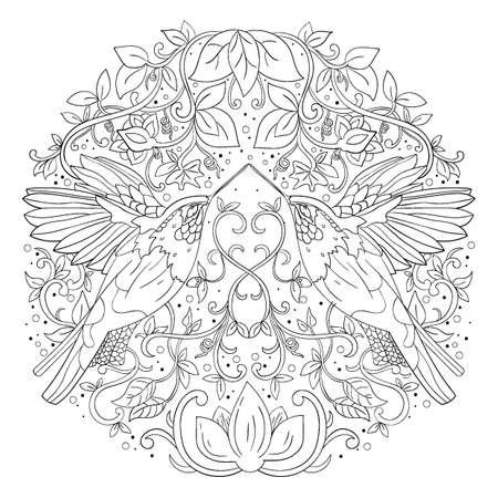 複雑な鳥をデザインします。  イラスト・ベクター素材