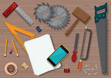 Conception de l'espace de travail des charpentiers Banque d'images - 77389301