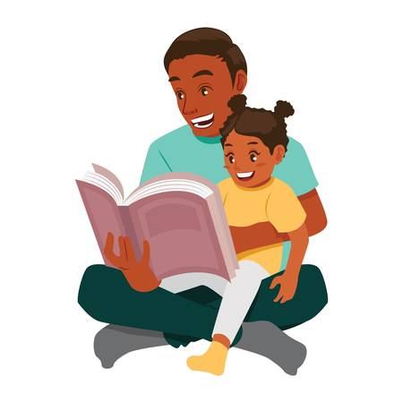 Father reading to daughter vector illustration