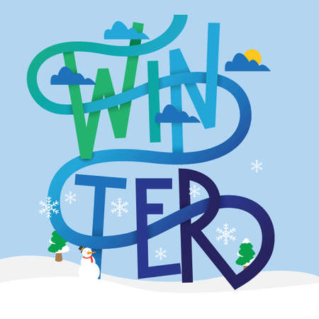 Winter lettering design vector illustration