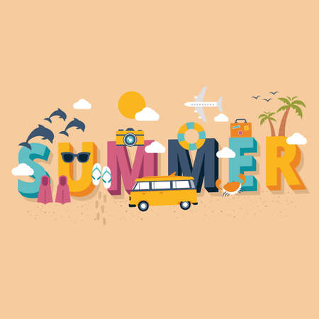 Summer lettering design vector illustration Imagens - 77437004