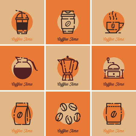 Verzameling van eenvoudige koffie pictogrammen