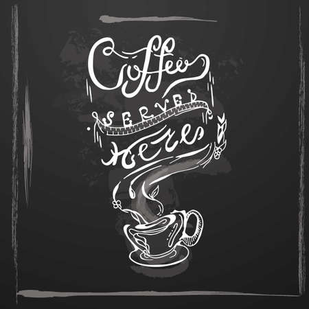 Coffee Served Here pamphlet banner poster vector illustration
