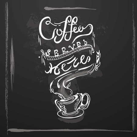 Coffee Served Here pamphlet banner poster vector illustration