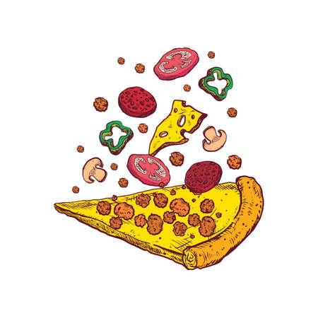 ピザのスライスを投げ