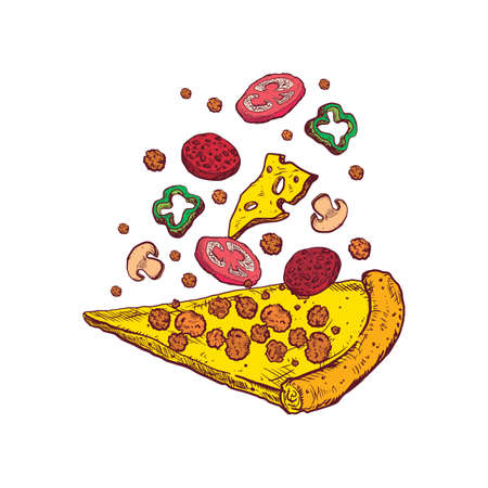 tossed pizza slice Illustration