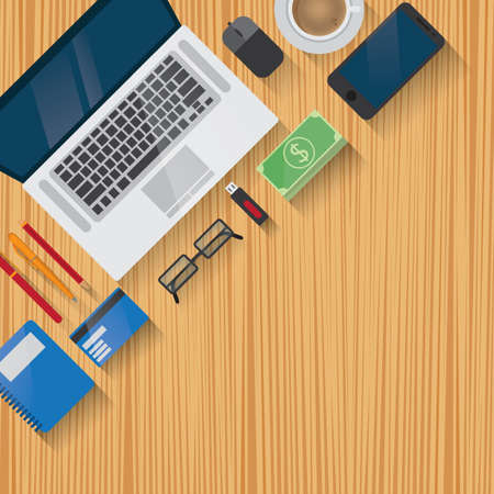 pendrive: Workspace design flat lay with copy space