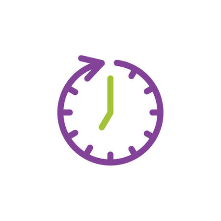 Rotating clock icon vector illustration