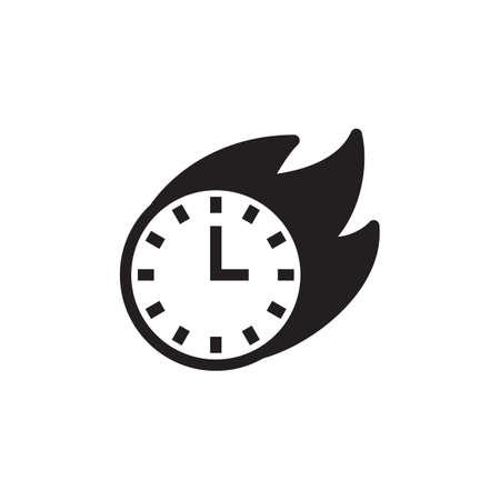 Zwart en wit vlammend klokpictogram
