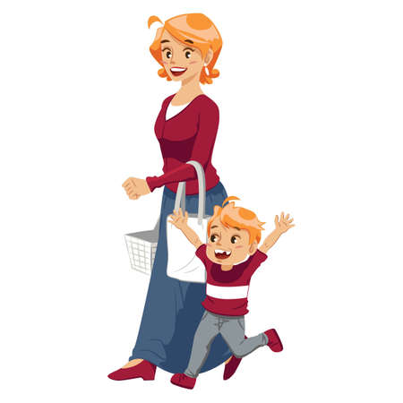 mother shopping with son