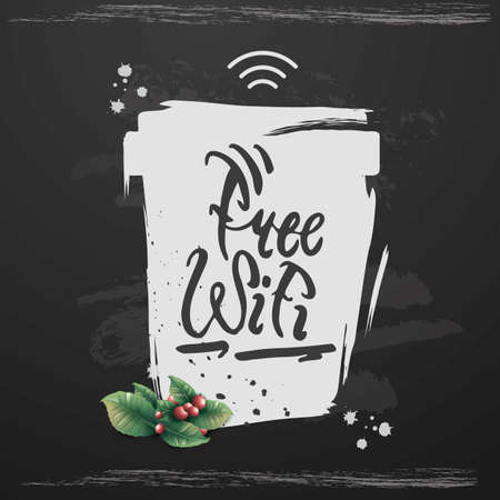 Free wifi with coffee design banner poster